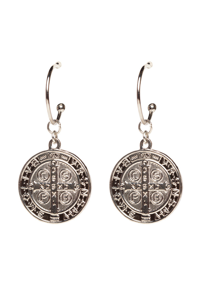 Katie Drop Coin Earrings - Silver