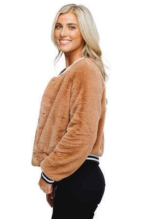 Lena Faux Fur Button Closure Jacket - Mocha