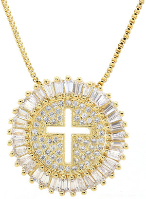 Cross Diamond Necklace - Gold
