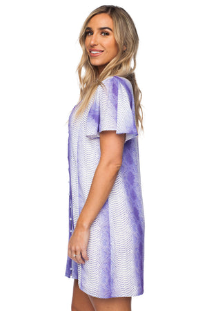 Hailey Fluttered Sleeved Button Up Mini Dress - Royal