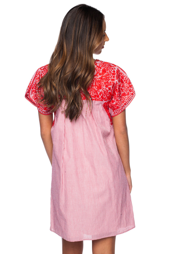 Alessandra Short Sleeved Embroidered Mini Dress - Red