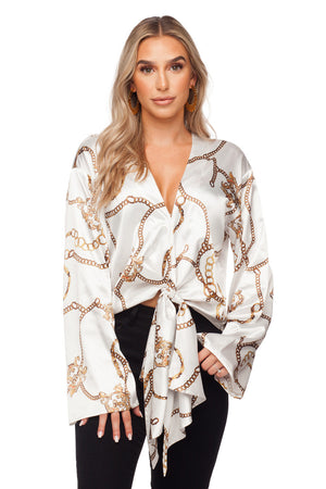 Gayle Long Bell Sleeves Tie Front Top - Ivory Chains