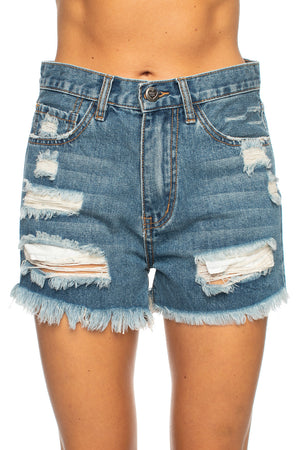 Meg Distressed Denim Shorts - Medium Wash