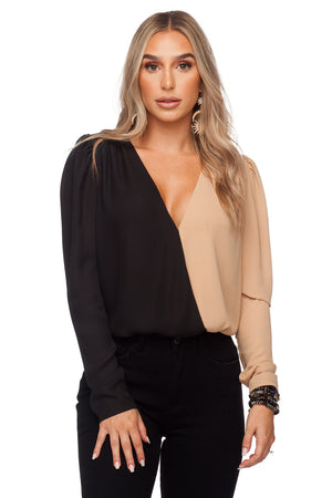 Melissa Surplice Neckline Fluffed Long Sleeve Bodysuit - Black/Nude