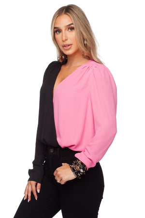 Melissa Surplice Neckline Fluffed Long Sleeve Bodysuit - Black/Pink