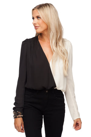 Melissa Surplice Neckline Fluffed Long Sleeve Bodysuit - Black/White