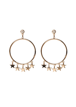 Milky way Hoop Star Earrings - Gold