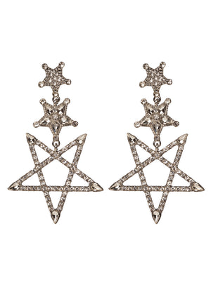 Monica Drop Star Earrings - Silver