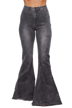 Moonshine High-Waisted Flared Jeans - Grey