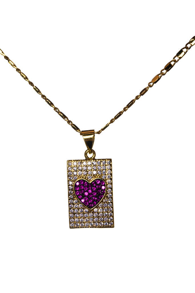 Pave Heart Necklace - Pink