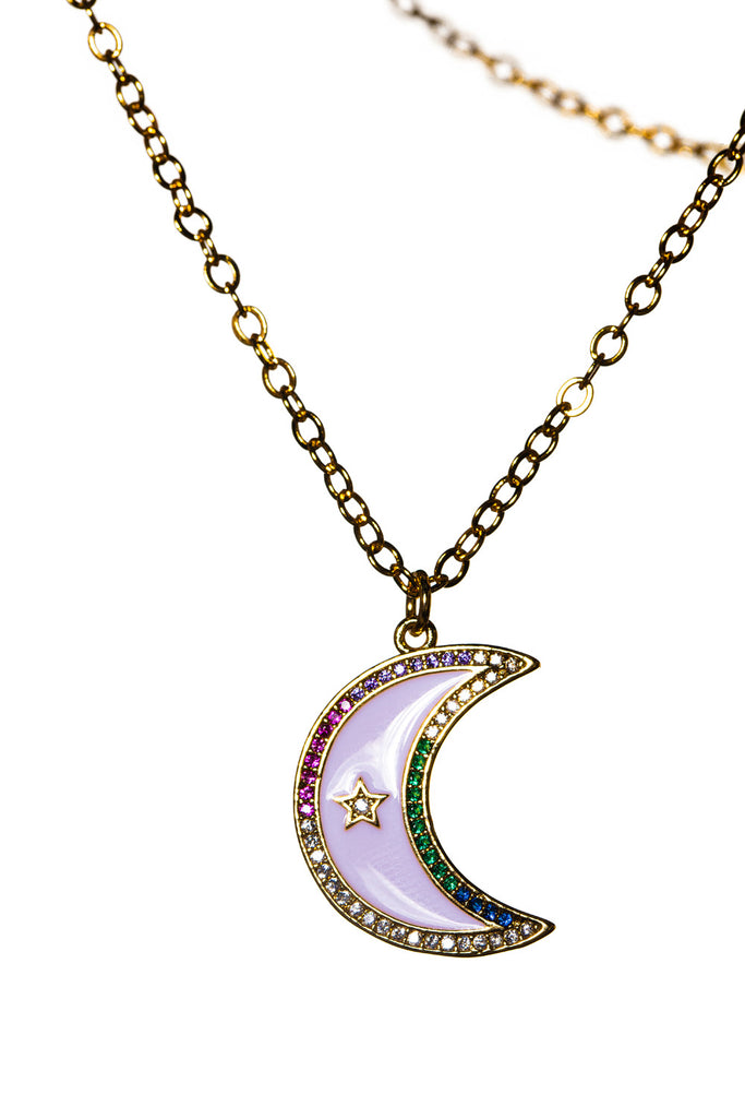 Rainbow Moon Necklace - Gold