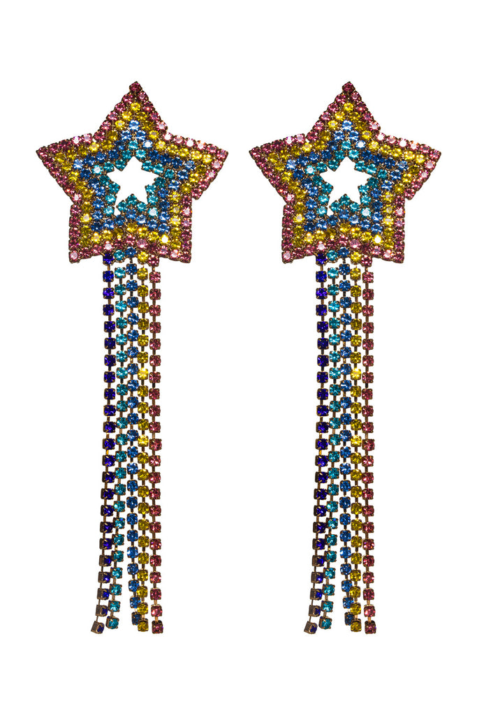 Rainbow Star Drop Earrings - Multi