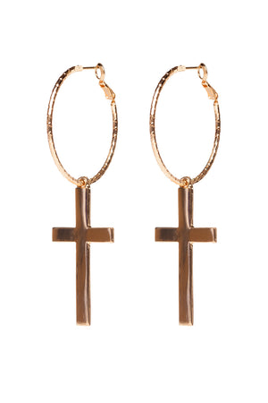 Rosana Hoop Cross Earrings - Gold