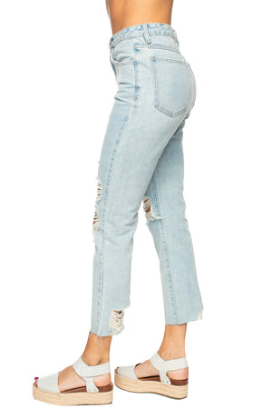 Ryan Distressed Skinny Jeans - Light Wash