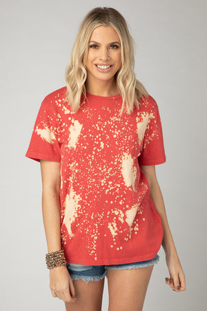 Serena Bleached Tee - Red