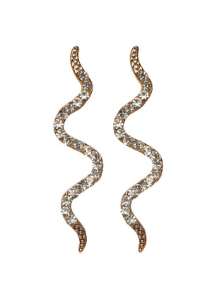Serpent Snake Earrings - Gold