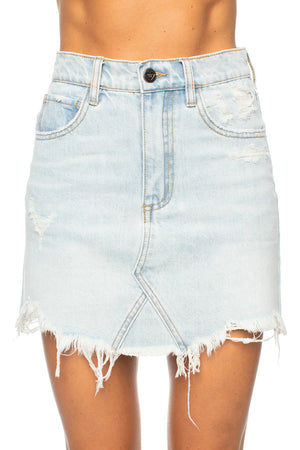 Sharon Distressed Denim Mini Skirt - Light Wash