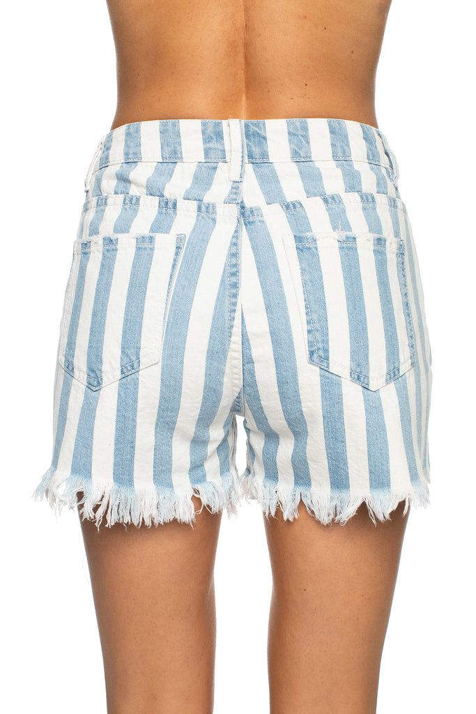 Sheriff Distressed High-Waisted Denim Shorts - Blue Stripe