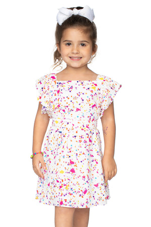 BuddyLove Kids Shiloh Flutter Sleeve Dress - Confetti