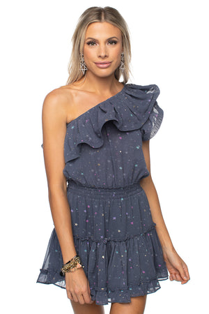 Sofia One Shoulder Ruffled Cocktail Dress - Glitter Galaxy
