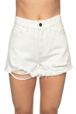 Stone Distressed High-Waisted Denim Shorts - White