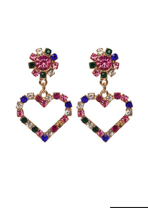 Tatiana Drop Heart Earrings - Multi