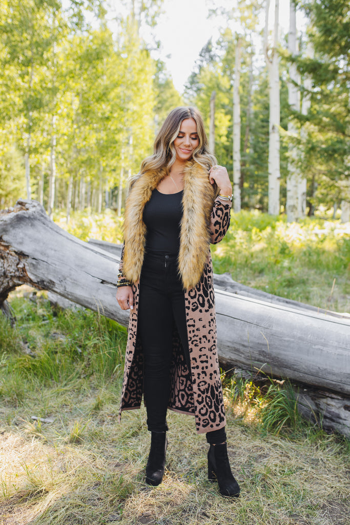 Valerie Long Cardigan with Removable Fur Collar - Brown