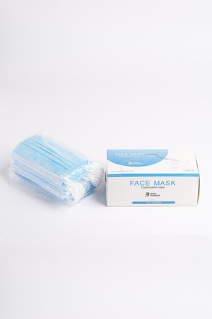 3-Layer Disposable Face Mask - 50 Pack