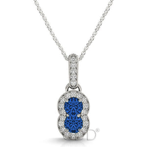 18K Gold Forever Us Two Stone Round Cut Diamonds & Sapphire Necklace