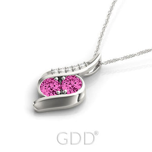 18K Gold Forever Us Two Stone Round Cut Diamonds & Pink Sapphire Necklace