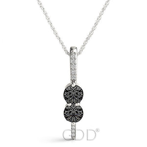 18K Gold Forever Us Two Stone Round Cut Diamonds & Black Diamonds Necklace
