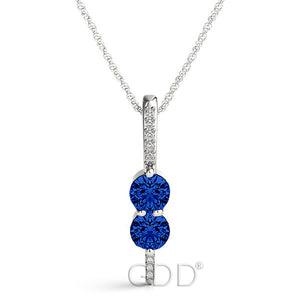 18K Gold Forever Us Two Stone Round Cut Diamonds & Blue Sapphire Necklace
