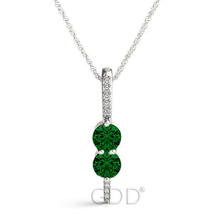 18K Gold Forever Us Two Stone Round Cut Diamonds & Green Emerald Necklace