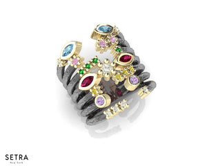 Design by kukka Collections Thai Splash Captivate 14kt Fine Rose Gold Multi-Color Gem & Diamond Ring