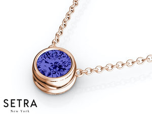 14K FINE ROSE GOLD BLUE SAPPHIRE PANDENTS OR NECKLACE SOLITAIRE BAZEL SETTING