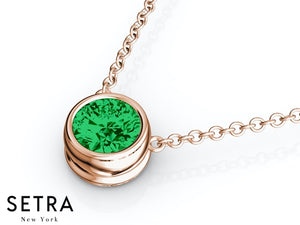 14K FINE ROSE GOLD GREEN EMERALD PANDENTS OR NECKLACE SOLITAIRE BAZEL SETTING