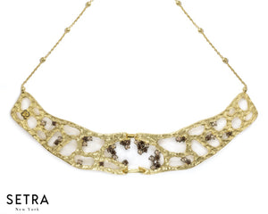 14kt FINE YELLOW GOLD WITH BROWN CHAMPAGNE DIAMONDS Atacama Hot Spring NECKLACE