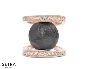 FINE ROSE 14kt GOLD WITH Diamonds & Basalt Core RING