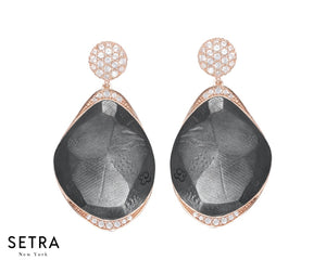 14kt FINE ROSE GOLD Diamonds & Basalt Plume EARRINGS