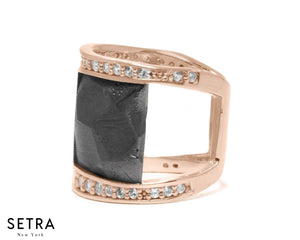 Design by kukka Collections 18kt Fine Rose Gold Diamonds & Basalt Subduction RING