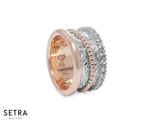 EQUALITY 14kt FINE ROSE GOLD HIGHLIGHT DIAMOND WEDDING BAND RING