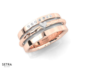EQUALITY 14kt FINE Rose and White Sweetheart GOLD BAND RING
