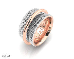 EQUALITY 14kt FINE ROSE GOLD HIGHLIGHT WEDDING BAND RING