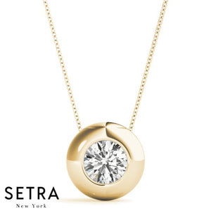 Round Cut Diamond Solitary Necklace Burnish Set 14kt Gold