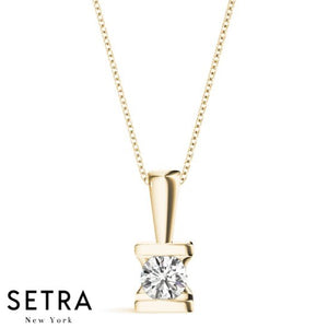 Round Cut Diamond Solitary Channel Setting Necklace 14kt Gold