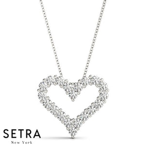 Classic Diamond Heart Necklace 14kt Gold