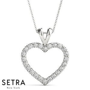 Micro-Pave Setting Diamond Heart Necklace 14kt Gold