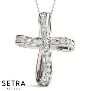 14K FINE GOLD FANCY CROSS DIAMONDS NECKLACE