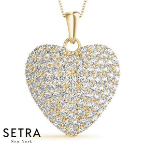 14K FINE GOLD HEART NECKLACE DIAMONDS ROYAL SETTING WITH ART DACO