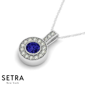 18K Gold Round Cut Diamonds & Sapphire In Halo Setting Necklace